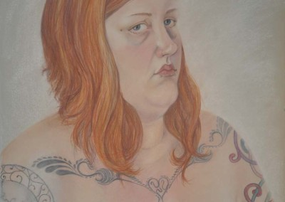 17. Sarah Anne Burns. Self-Portrait. 2010, Pastel on Paper 22in w. x 30 in h.