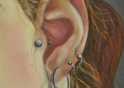 3. Sarah Anne Burns. Ear. 2010, Pastel on Board. 5 in x 7 in.