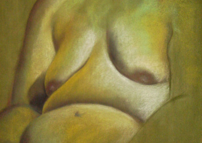 burns, sarah. green woman. pastel on paper. 22in w. x 30in h. spring 2005.