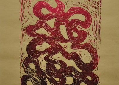 burns, sarah. i _ _ _ _ your guts. linocut print on paper. 11in w. x 14in h.
