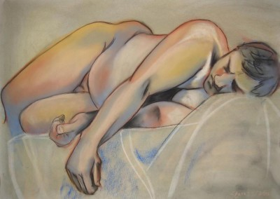 burns, sarah. pastel man reclining. pastel on paper. 30in w. x 22in h. 5-7-2007.