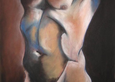 burns, sarah. pastel man standing. pastel on paper. 22in w. x 30 in h. 2007.